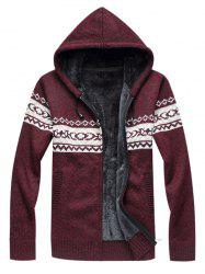 Hooded Fleece Knitted Zip Up Sweater -