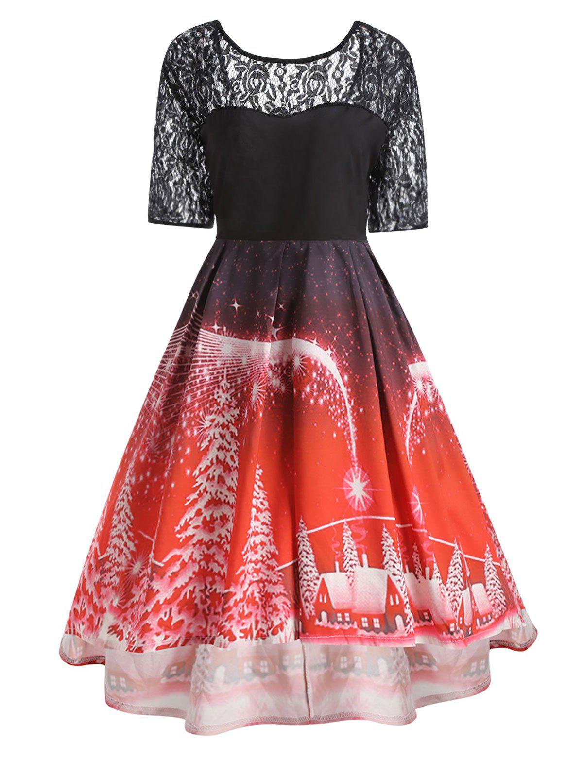 Plus Size  Lace Panel Vintage Christmas Party DressWOMEN<br><br>Size: 4XL; Color: RED; Style: Cute; Material: Polyester; Silhouette: Ball Gown; Dresses Length: Knee-Length; Neckline: Round Collar; Sleeve Length: Short Sleeves; Embellishment: Hollow Out,Lace,Vintage; Pattern Type: Print; With Belt: No; Season: Fall,Winter; Weight: 0.3200kg; Package Contents: 1 x Dress;
