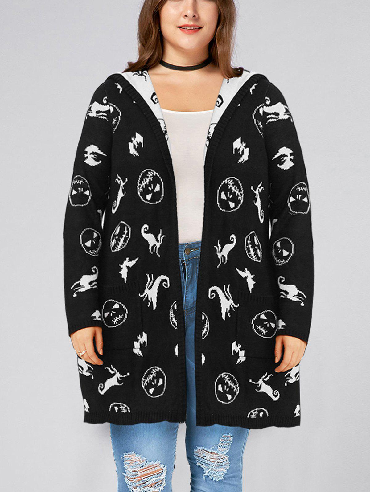 Unique Halloween Plus Size Hooded Pockets Graphic Cardigan