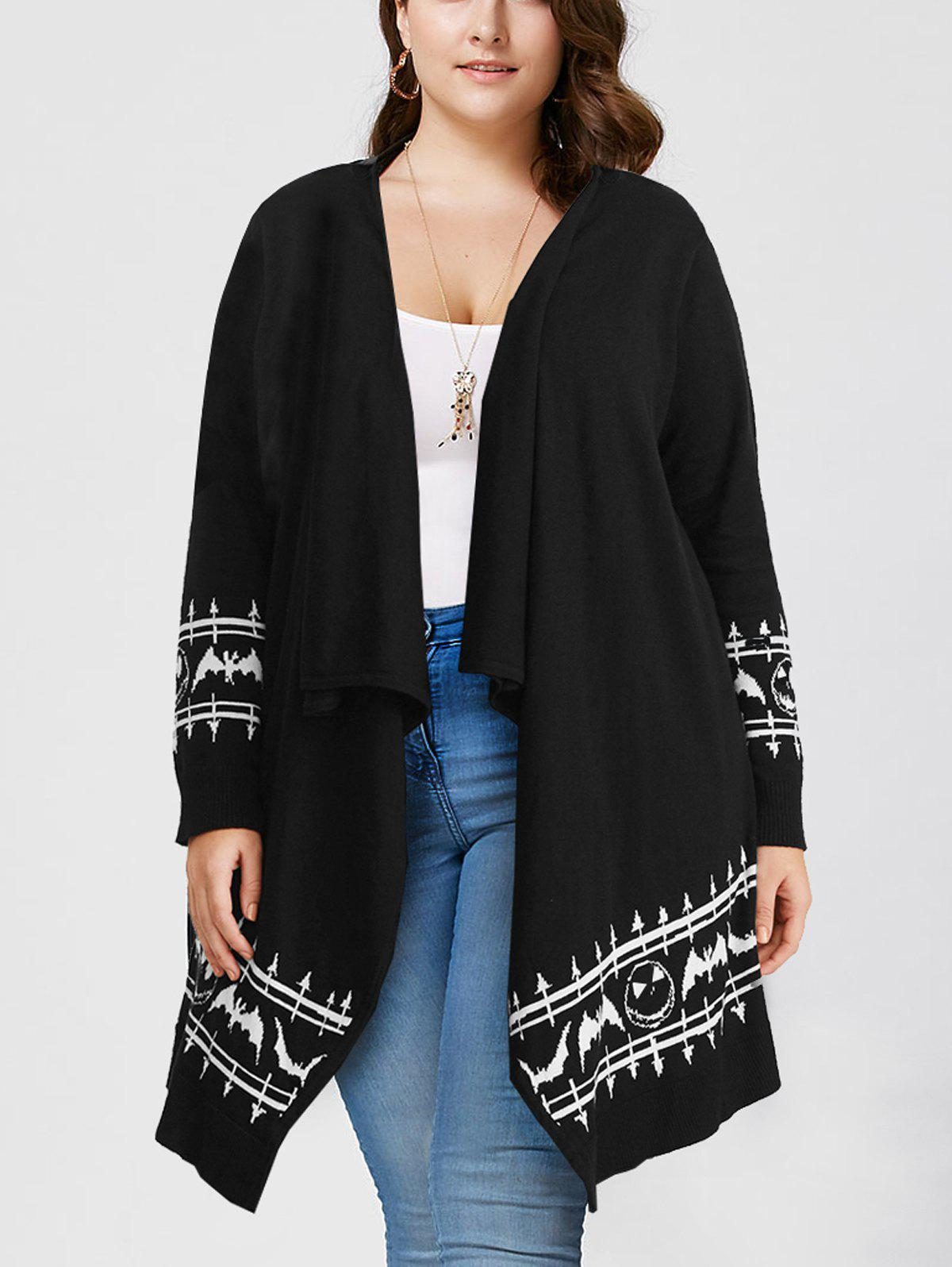 Shop Halloween Plus Size Graphic Open Front Cardigan