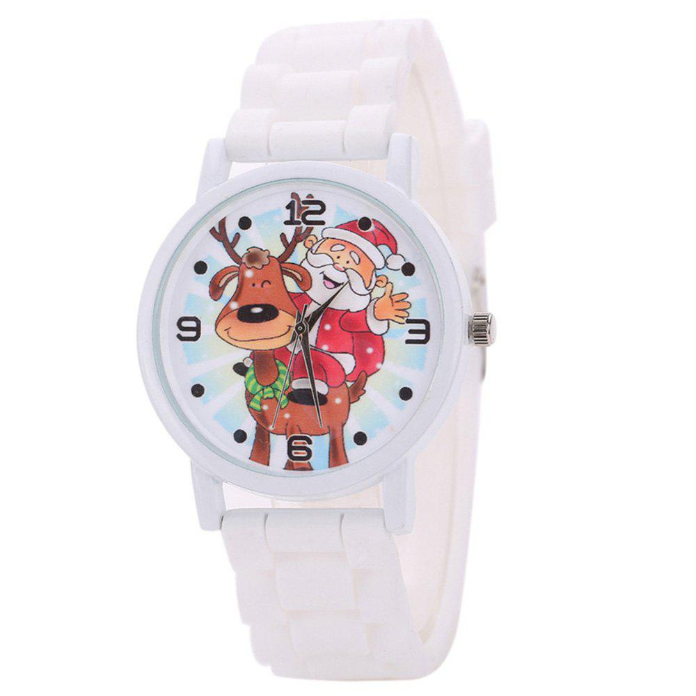 Affordable Christmas Deer Santa Face Silicone Strap Watch