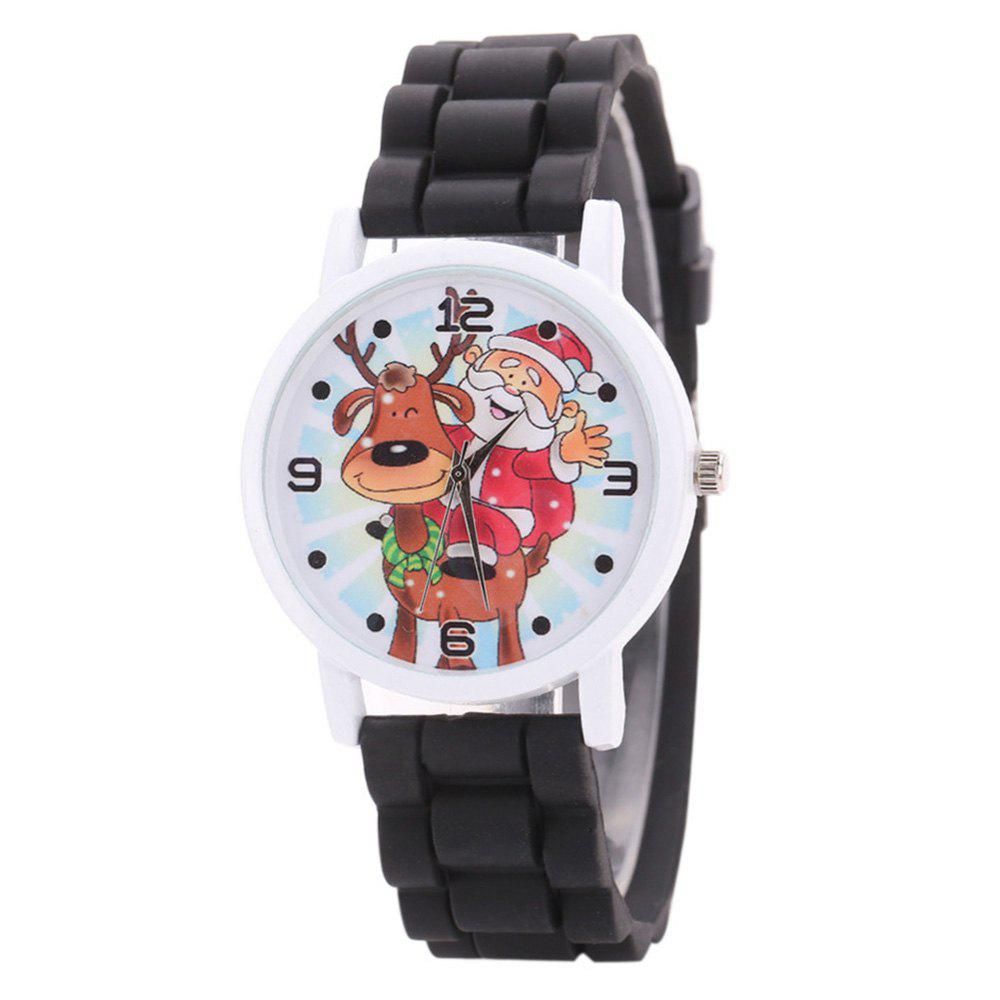 Christmas Deer Santa Face Silicone Strap WatchJEWELRY<br><br>Color: BLACK; Gender: For Women; Style: Fashion; Type: Quartz watch; Index Dial: Analog; Case material: Alloy; Band material: Silica Gel; Movement: Quartz; Dial Shape: Round; Water-Proof: No; Case Thickness(MM): 7mm; Dial Diameter: 3.5cm; Band Length(CM): 23.5cm; Band Width(CM): 2cm; Package Contents: 1 x Watch;