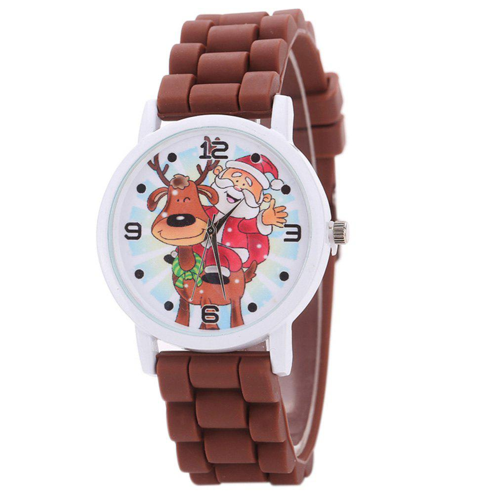 Trendy Christmas Deer Santa Face Silicone Strap Watch