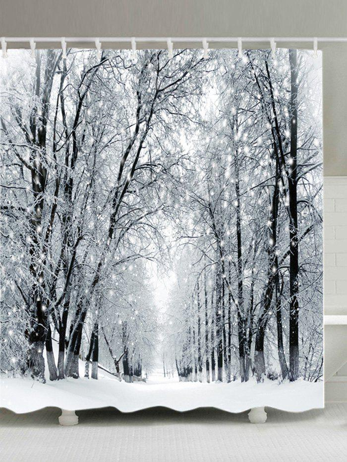 Snowy Forest Path Print Fabric Waterproof Bathroom Shower CurtainHOME<br><br>Size: W59 INCH * L71 INCH; Color: WHITE; Products Type: Shower Curtains; Materials: Polyester; Pattern: Forest; Style: Natural; Number of Hook Holes: W59 inch*L71 inch: 10; W71 inch*L71 inch: 12; W71 inch*L79 inch: 12; Package Contents: 1 x Shower Curtain 1 x Hooks (Set);