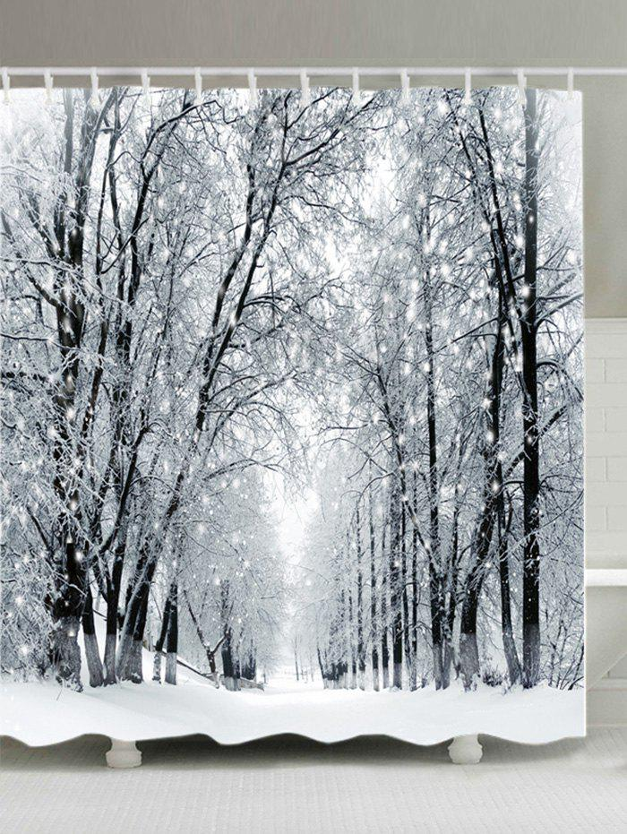Snowy Forest Path Print Fabric Waterproof Bathroom Shower CurtainHOME<br><br>Size: W71 INCH * L71 INCH; Color: WHITE; Products Type: Shower Curtains; Materials: Polyester; Pattern: Forest; Style: Natural; Number of Hook Holes: W59 inch*L71 inch: 10; W71 inch*L71 inch: 12; W71 inch*L79 inch: 12; Package Contents: 1 x Shower Curtain 1 x Hooks (Set);