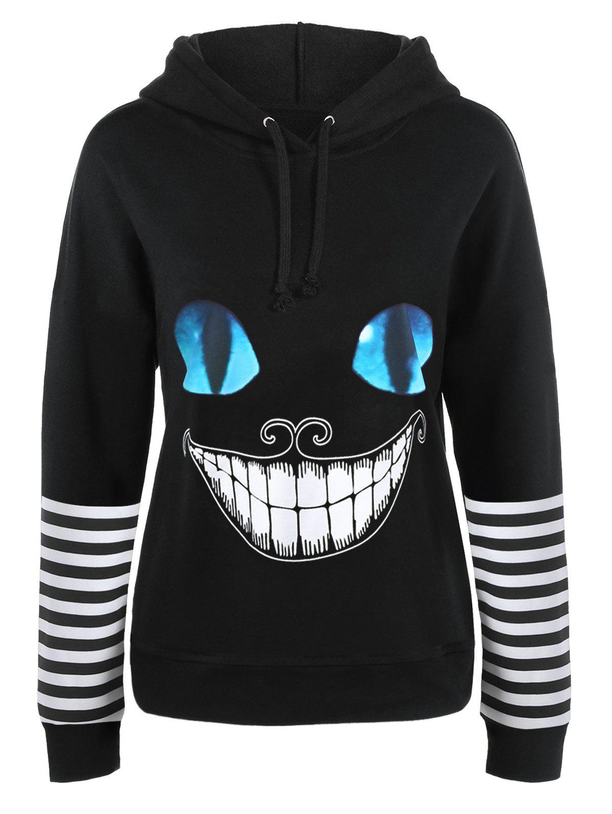 Halloween Cat Face Print Drawstring HoodieWOMEN<br><br>Size: L; Color: BLACK; Material: Polyester; Shirt Length: Regular; Sleeve Length: Full; Style: Fashion; Pattern Style: Print; Embellishment: Panel; Elasticity: Micro-elastic; Season: Fall,Spring,Winter; Weight: 0.4900kg; Package Contents: 1 x Hoodie;