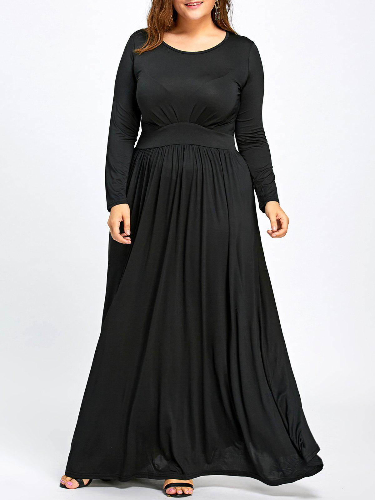 5b285283cb63 30% OFF] Floor Length Plus Size Long Sleeve Dress | Rosegal