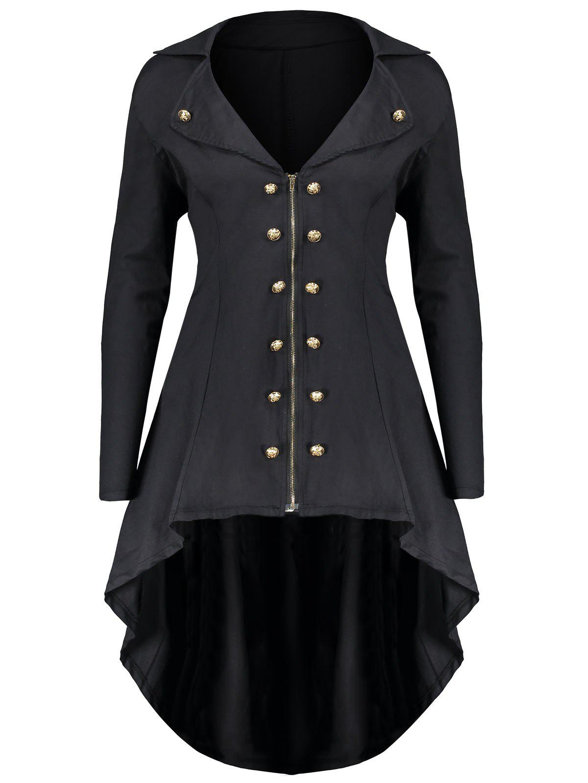 Lapel Double Breast Plus Size High Low CoatWOMEN<br><br>Size: 2XL; Color: BLACK; Clothes Type: Others; Material: Polyester,Spandex; Type: Asymmetric Length; Shirt Length: Long; Sleeve Length: Full; Collar: Lapel; Pattern Type: Solid; Embellishment: Button,Zippers; Style: Fashion; Season: Fall,Winter; Weight: 0.5200kg; Package Contents: 1 x Coat;