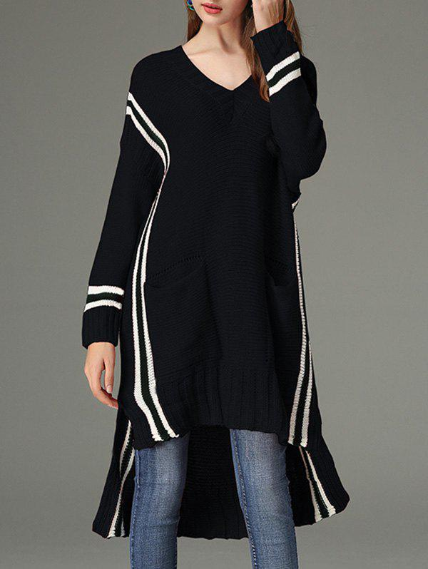 Chic High Low V Neck Sweater Dress