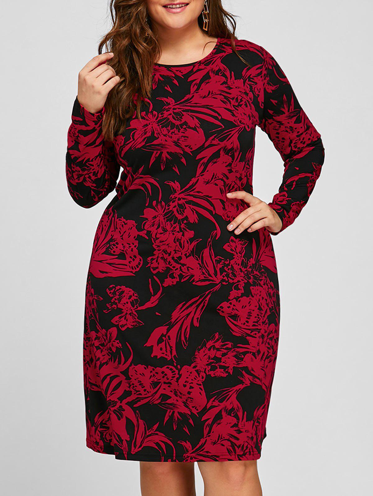 Floral Plus Size Long Sleeve Sheath DressWOMEN<br><br>Size: 2XL; Color: RED; Style: Cute; Material: Polyester,Spandex; Silhouette: Sheath; Dresses Length: Knee-Length; Neckline: Round Collar; Sleeve Length: Long Sleeves; Pattern Type: Floral; With Belt: No; Season: Fall,Spring; Weight: 0.3200kg; Package Contents: 1 x Dress;