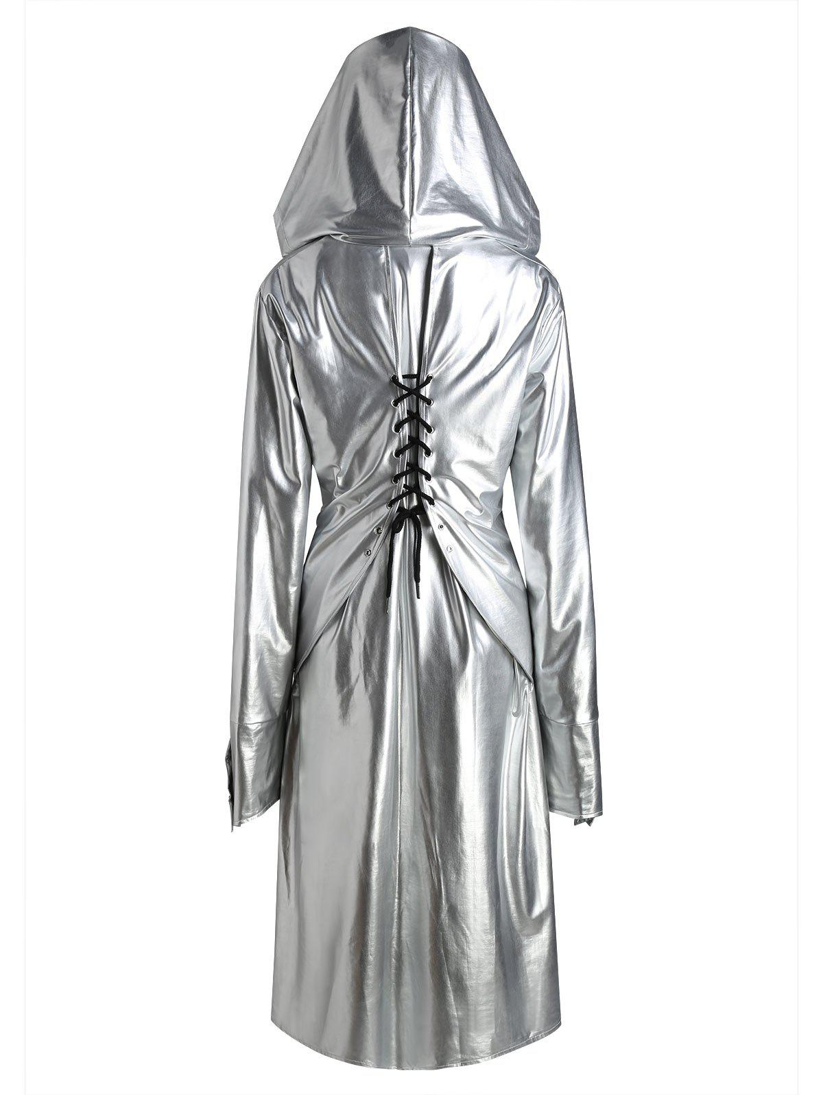 Plus Size Hooded Lace Up Longline CoatWOMEN<br><br>Size: 3XL; Color: SILVER; Clothes Type: Others; Material: Cotton,Polyester; Type: Slim; Shirt Length: Long; Sleeve Length: Full; Collar: Hooded; Pattern Type: Solid; Embellishment: Criss-Cross; Style: Fashion; Season: Fall,Spring; With Belt: No; Weight: 0.8750kg; Package Contents: 1 x Coat;