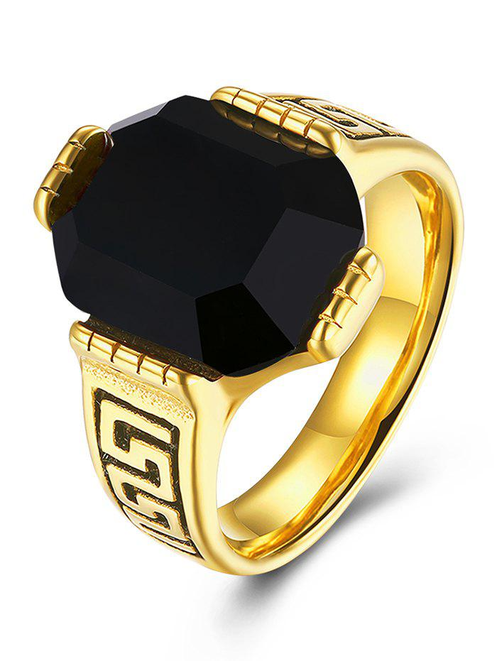 Engraved Faux Ruby Fret Finger RingJEWELRY<br><br>Size: 10; Color: BLACK; Gender: For Men; Style: Classic; Shape/Pattern: Geometric; Weight: 0.0300kg; Package Contents: 1 x Ring;