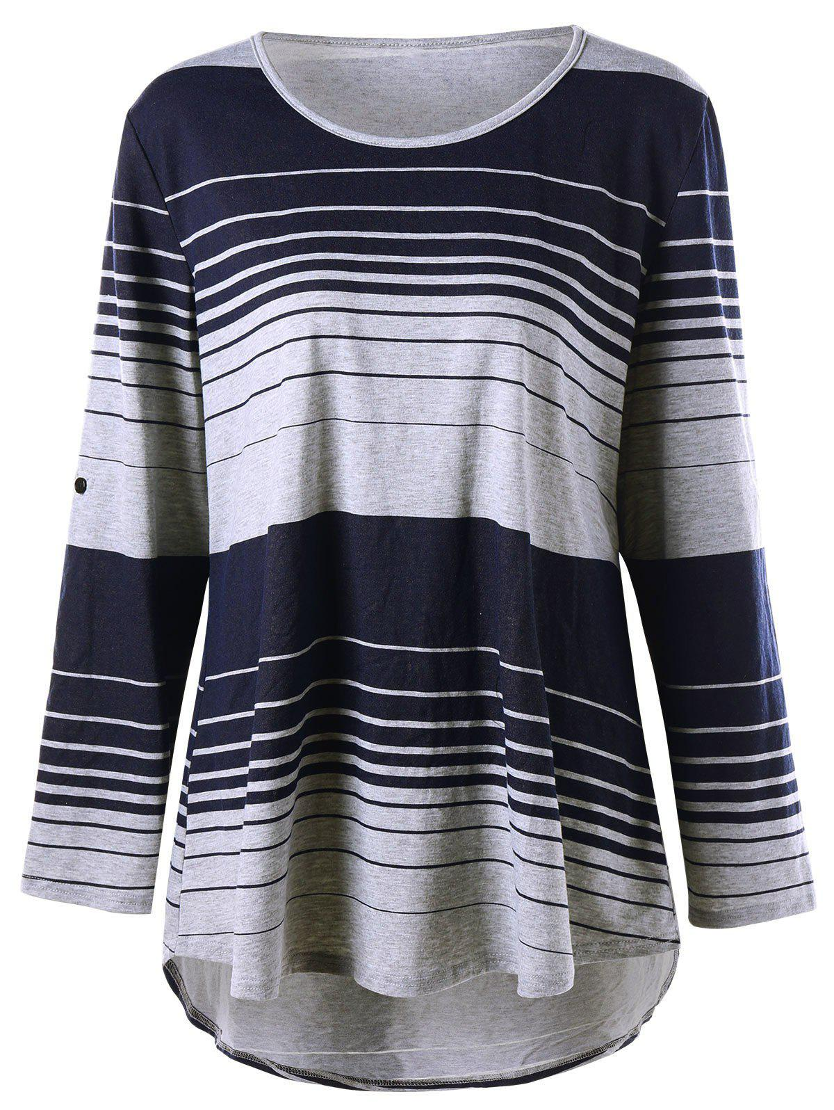 Plus Size  Long Sleeve Striped High Low T-shirtWOMEN<br><br>Size: 4XL; Color: COLORMIX; Material: Cotton,Polyester; Shirt Length: Long; Sleeve Length: Full; Collar: Scoop Neck; Style: Casual; Season: Fall,Spring; Pattern Type: Striped; Weight: 0.3200kg; Package Contents: 1 x T-shirt;