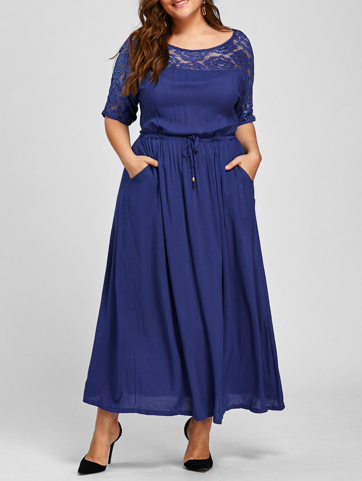 Maxi Plus Size Lace Trim Drawstring DressWOMEN<br><br>Size: 3XL; Color: BLUE; Style: Casual; Material: Polyester,Spandex; Silhouette: Straight; Dresses Length: Ankle-Length; Neckline: Round Collar; Sleeve Length: Half Sleeves; Pattern Type: Solid; With Belt: No; Season: Fall,Spring; Weight: 0.3600kg; Package Contents: 1 x Dress;