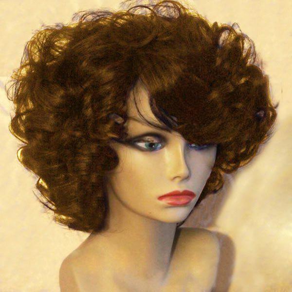 Short Side Bang Fluffy Afro Curly Synthetic WigHAIR<br><br>Color: BROWN; Type: Full Wigs; Cap Construction: Capless; Style: Curly; Material: Synthetic Hair; Bang Type: Side; Length: Short; Length Size(CM): 30; Weight: 0.2100kg; Package Contents: 1 x Wig;