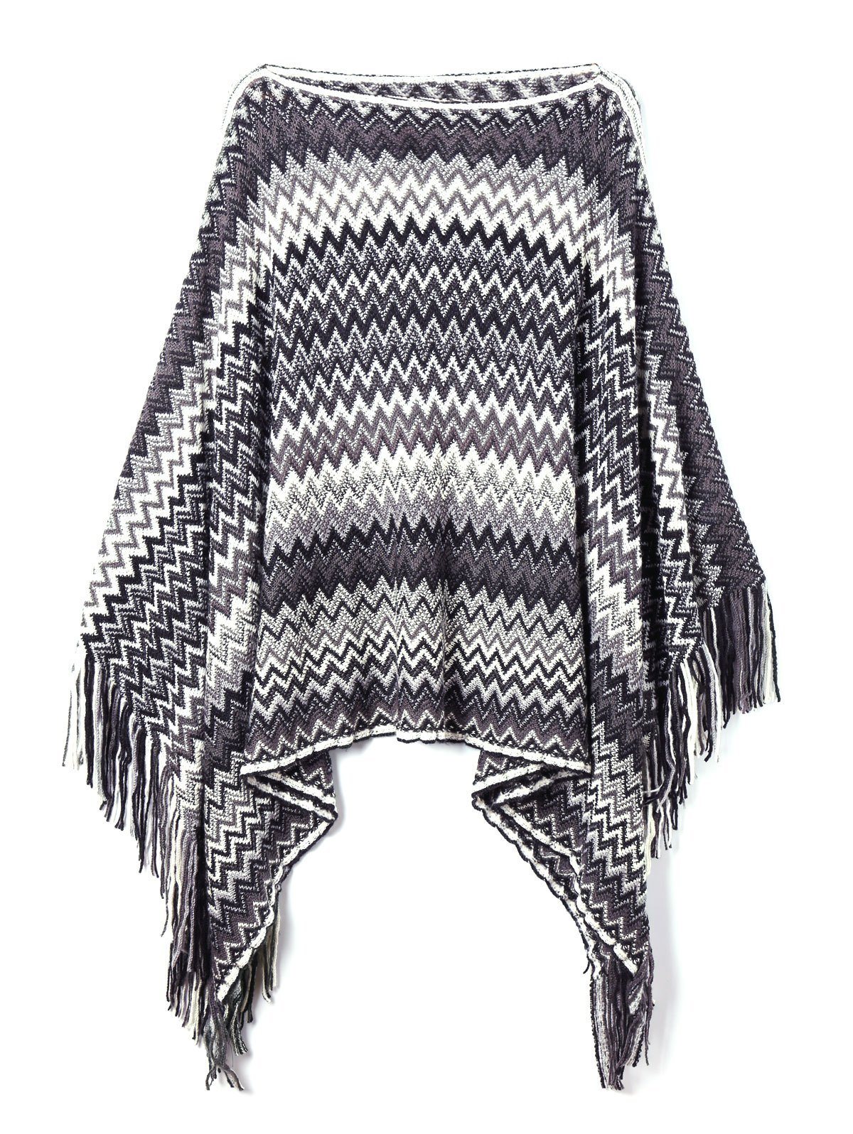 Fringed Zig Zag Plus Size Poncho SweaterWOMEN<br><br>Size: 5XL; Color: COLORMIX; Type: Pullovers; Material: Cotton,Polyester; Sleeve Length: Sleeveless; Collar: Slash Neck; Style: Fashion; Season: Fall,Spring; Pattern Type: Chevron/Zig Zag; Weight: 0.2500kg; Package Contents: 1 x Poncho Sweater;