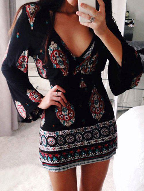 Buy Flare Sleeve Plunge Boho Dress