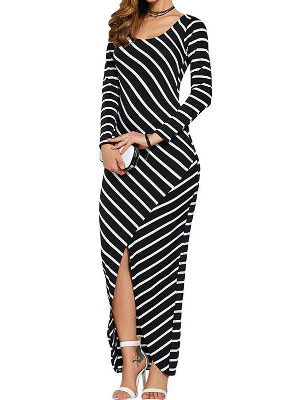 New Striped Slit Evening Dress