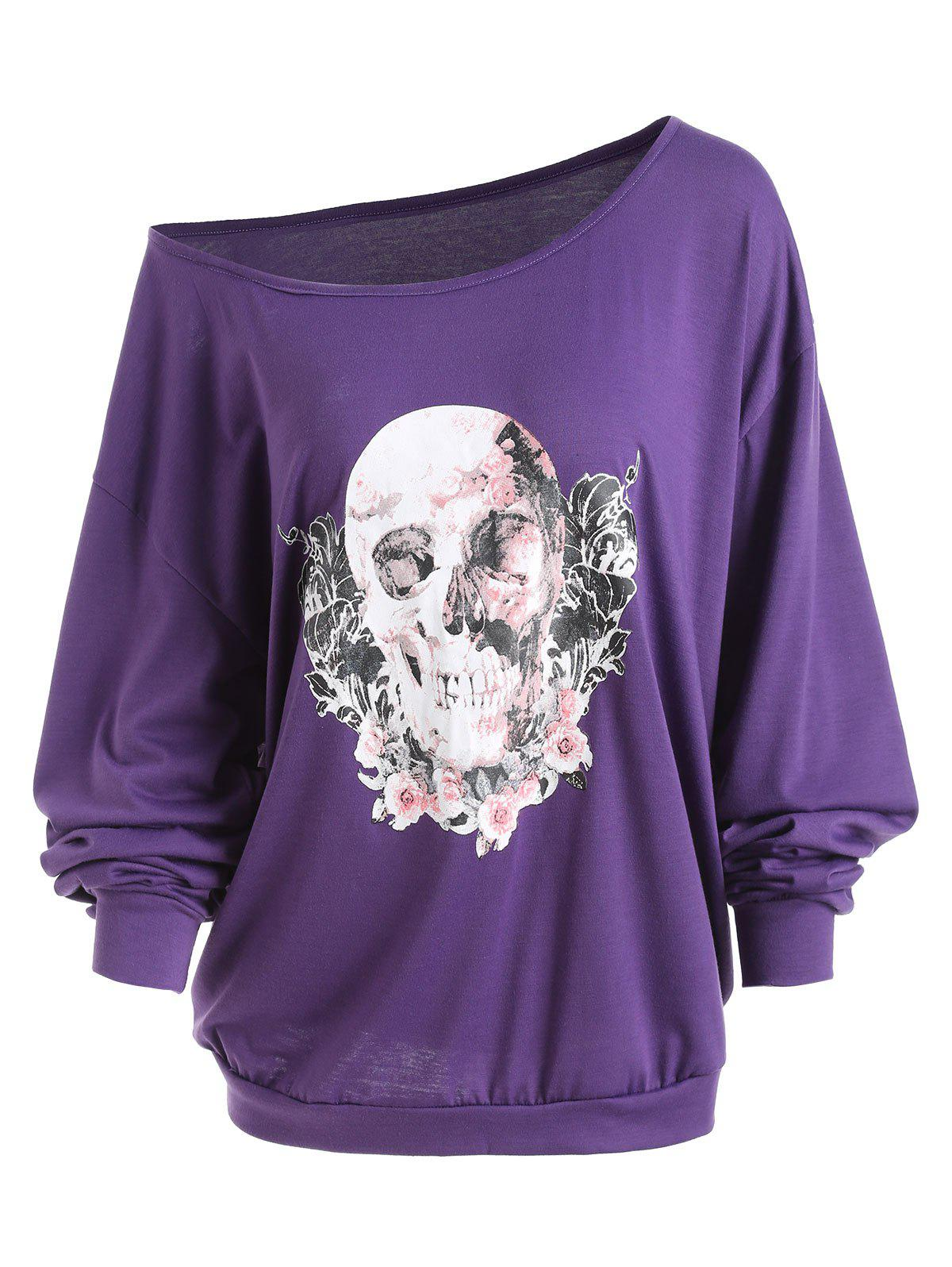 Plus Size Skew Neck Halloween Skull Rose  TeeWOMEN<br><br>Size: 5XL; Color: PURPLE; Material: Cotton Blends,Polyester; Shirt Length: Long; Sleeve Length: Full; Collar: Skew Collar; Style: Fashion; Season: Fall,Spring,Winter; Embellishment: 3D Print; Pattern Type: Skulls; Weight: 0.3200kg; Package Contents: 1 x Tee;