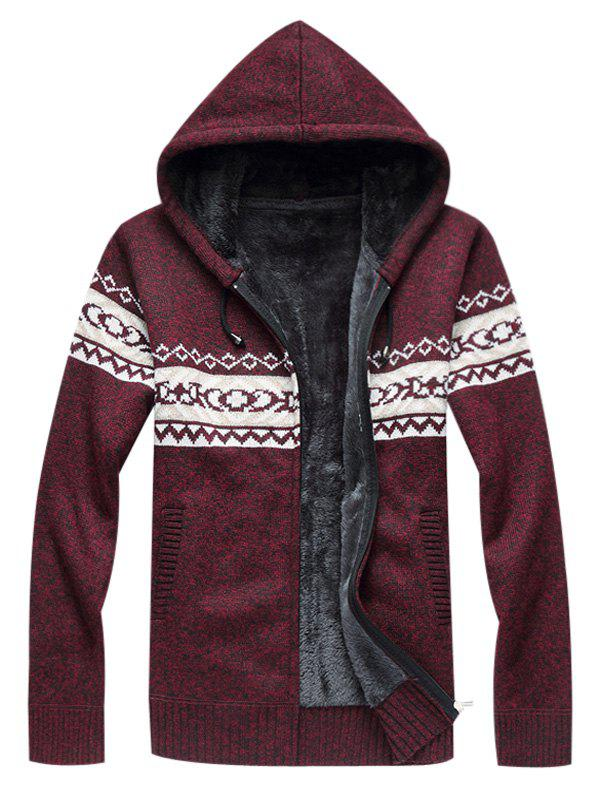Online Hooded Fleece Knitted Zip Up Sweater