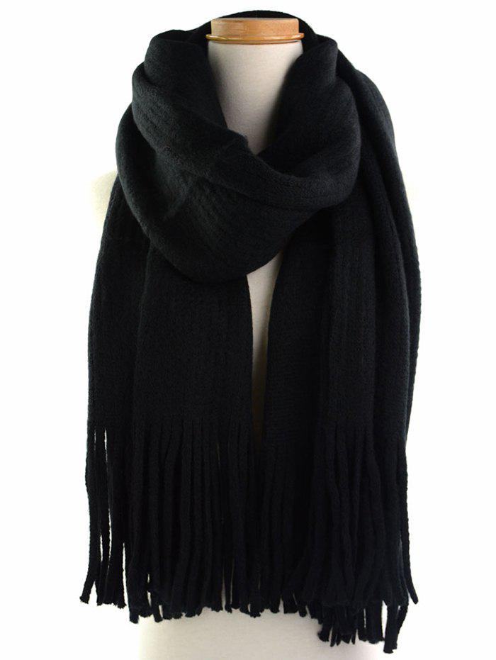 Vintage Soft Fringed Knitted Shawl ScarfACCESSORIES<br><br>Color: BLACK; Scarf Type: Scarf; Scarf Length: 135-175CM; Group: Adult; Gender: For Women; Style: Vintage; Material: Acrylic; Season: Fall,Spring,Winter; Scarf Width (CM): 53CM; Length (CM): 180CM; Weight: 0.2900kg; Package Contents: 1 x Scarf;
