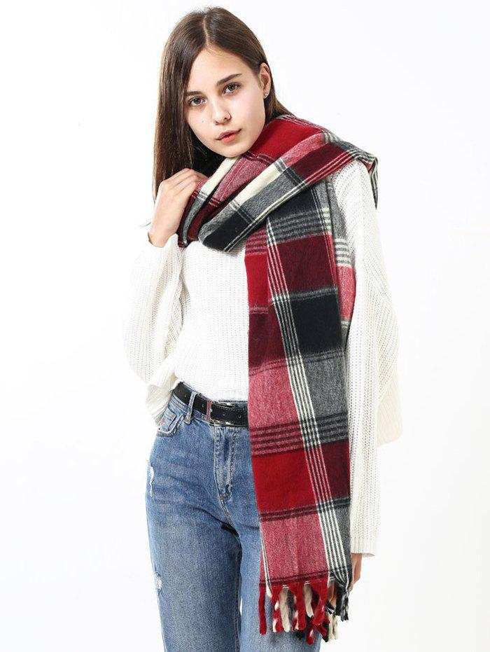Vintage Soft Checked Pattern Fringe Long ScarfACCESSORIES<br><br>Color: MULTI; Scarf Type: Scarf; Scarf Length: Above 175CM; Group: Adult; Gender: For Women; Style: Vintage; Material: Acrylic; Pattern Type: Plaid; Season: Fall,Spring,Winter; Scarf Width (CM): 85CM; Length (CM): 200CM; Weight: 0.3000kg; Package Contents: 1 x Scarf;