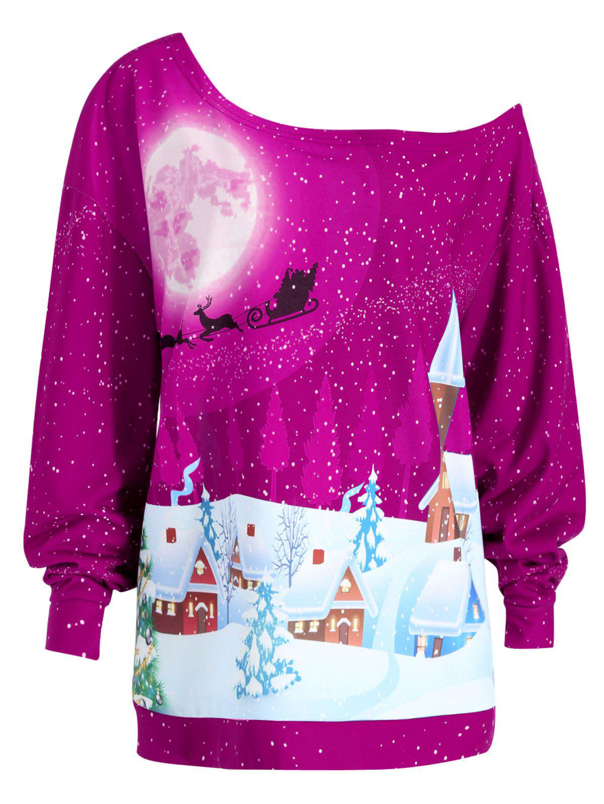 Christmas Evening Printed Plus Size Skew Neck SweatshirtWOMEN<br><br>Size: 3XL; Color: ROSE MADDER; Material: Cotton Blend,Polyester; Shirt Length: Regular; Sleeve Length: Full; Style: Fashion; Pattern Style: Print; Season: Fall,Winter; Weight: 0.4100kg; Package Contents: 1 x Sweatshirt;