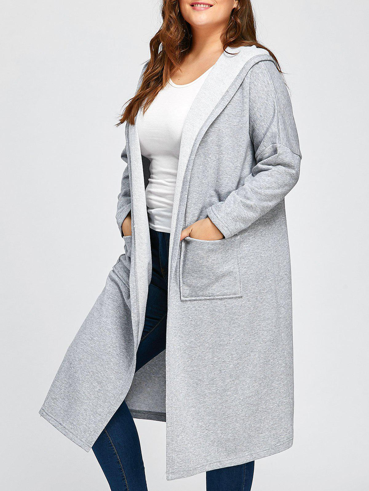 Hot Plus Size Longline Hooded Coat with Pocket