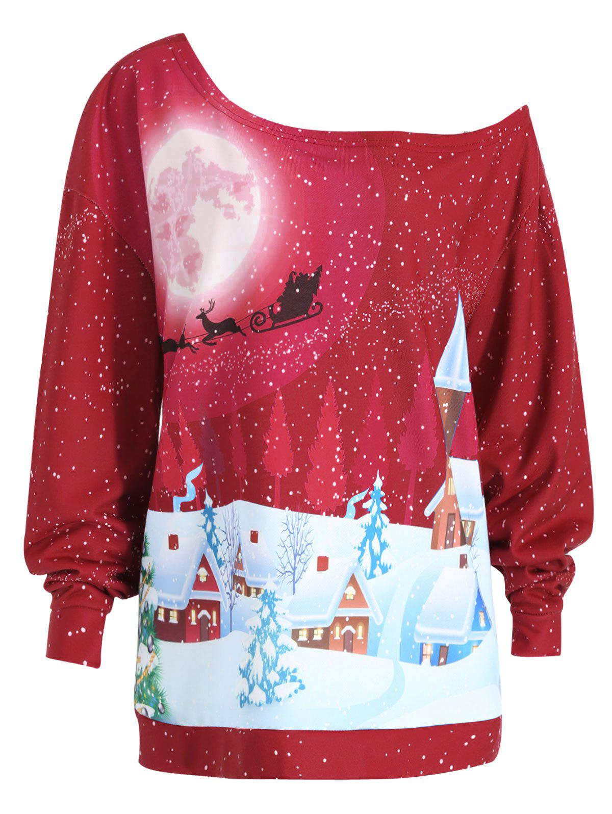 Christmas Evening Printed Plus Size Skew Neck SweatshirtWOMEN<br><br>Size: XL; Color: BRIGHT RED; Material: Cotton Blend,Polyester; Shirt Length: Regular; Sleeve Length: Full; Style: Fashion; Pattern Style: Print; Season: Fall,Winter; Weight: 0.4100kg; Package Contents: 1 x Sweatshirt;