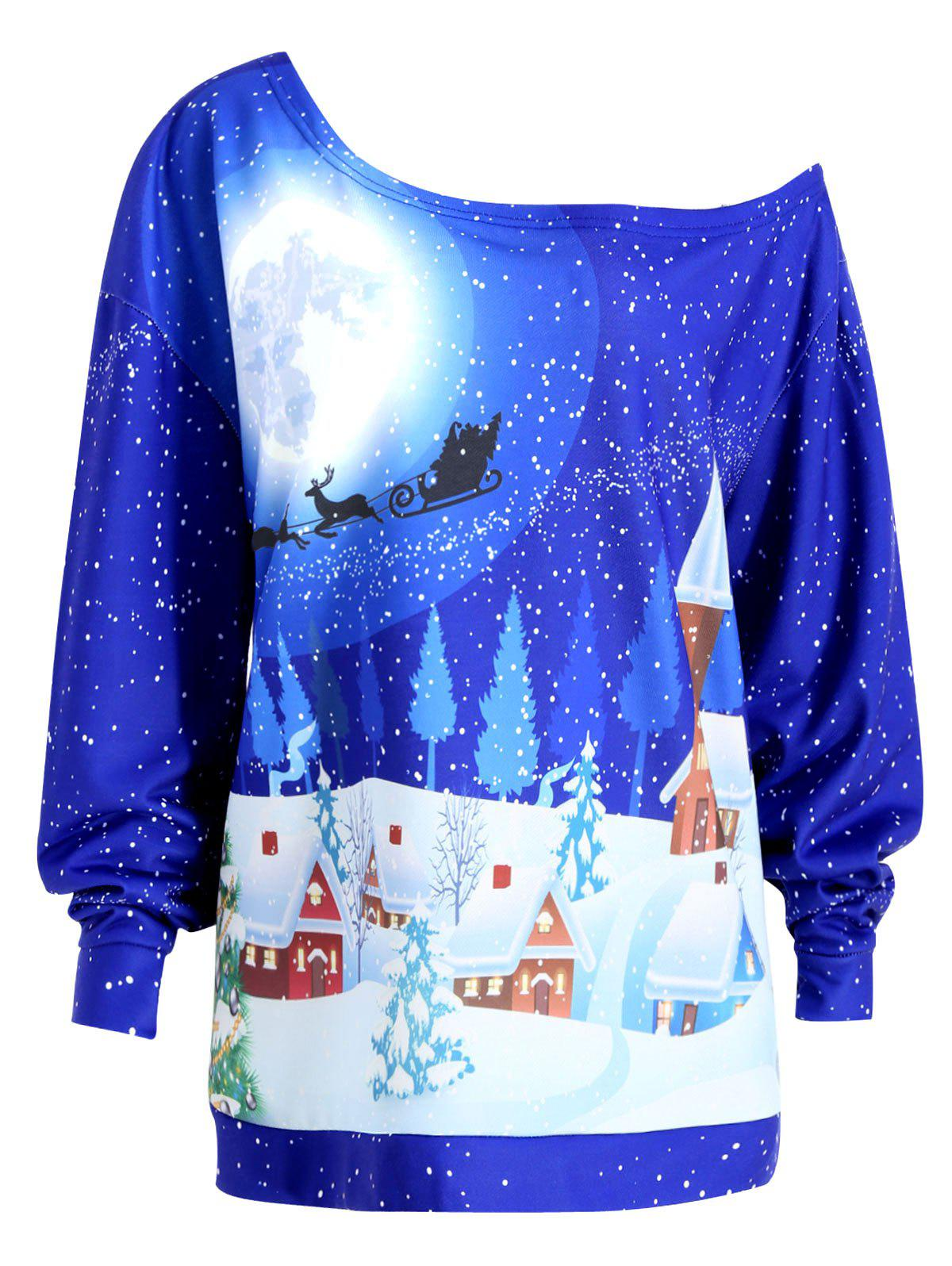 Christmas Evening Printed Plus Size Skew Neck SweatshirtWOMEN<br><br>Size: XL; Color: ROYAL; Material: Cotton Blend,Polyester; Shirt Length: Regular; Sleeve Length: Full; Style: Fashion; Pattern Style: Print; Season: Fall,Winter; Weight: 0.4100kg; Package Contents: 1 x Sweatshirt;