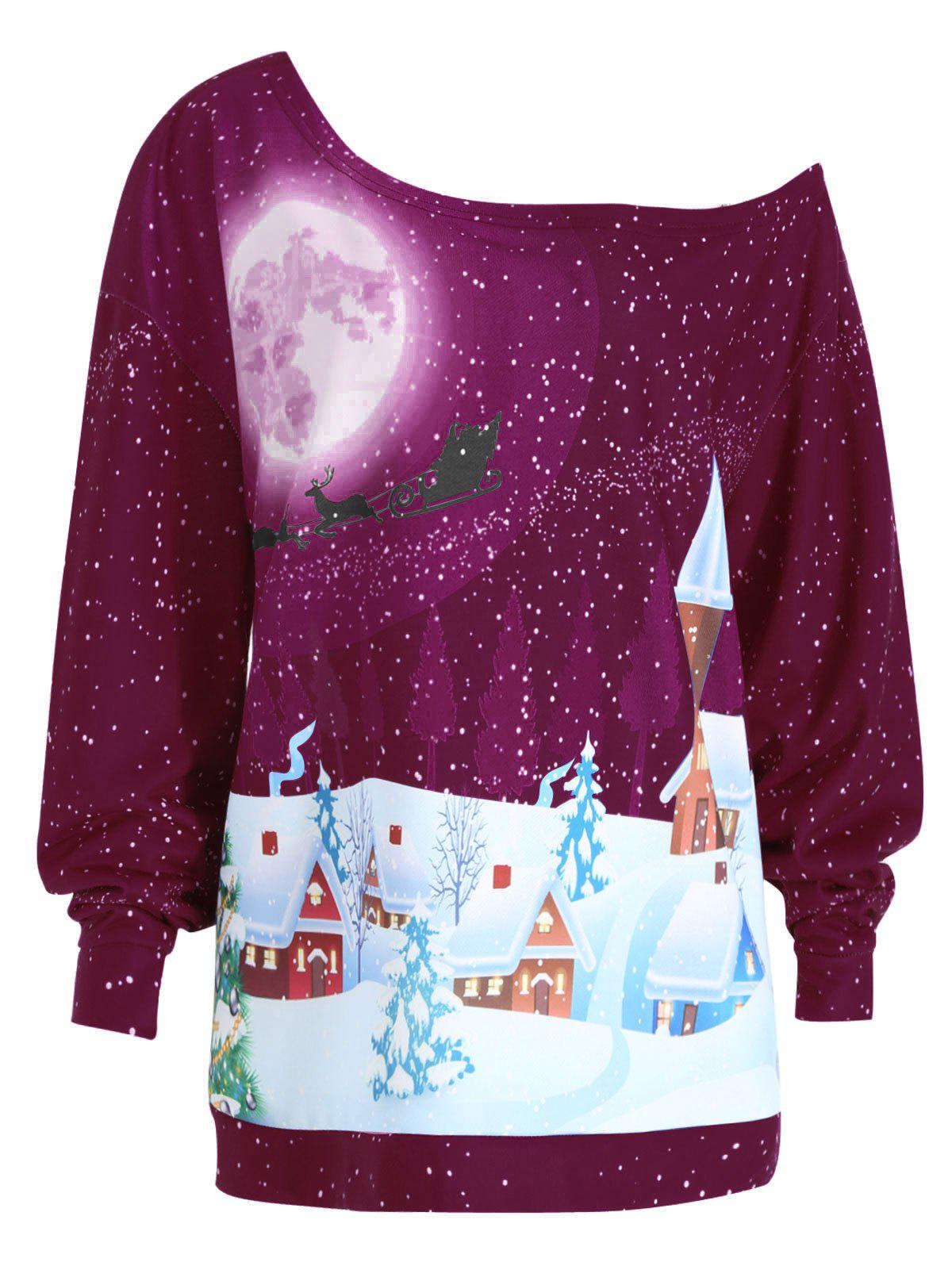 Affordable Christmas Evening Printed Plus Size Skew Neck Sweatshirt