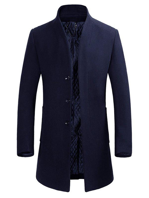 Unique Stand Collar Single-breasted Wool Blend Coat