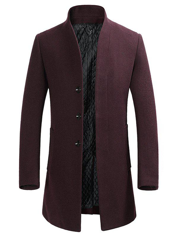 Affordable Stand Collar Single-breasted Wool Blend Coat
