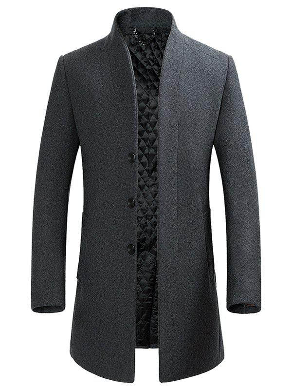 Buy Stand Collar Single-breasted Wool Blend Coat