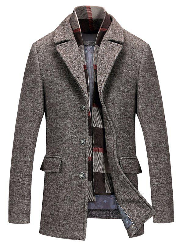 Notch Lapel Flap Pocket Classic Wool Blend CoatMEN<br><br>Size: L; Color: BROWN; Clothes Type: Wool &amp; Blends; Style: Casual,Fashion,Formal,Office; Material: Cotton,Polyester,Wool; Collar: Turn-down Collar; Shirt Length: Regular; Sleeve Length: Long Sleeves; Season: Fall,Winter; Weight: 1.4800kg; Package Contents: 1 x Coat;