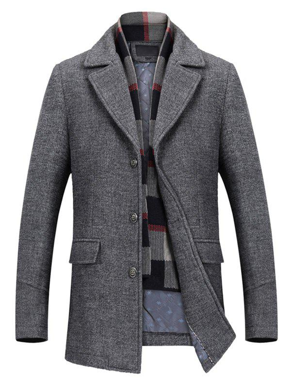 Affordable Notch Lapel Flap Pocket Classic Wool Blend Coat