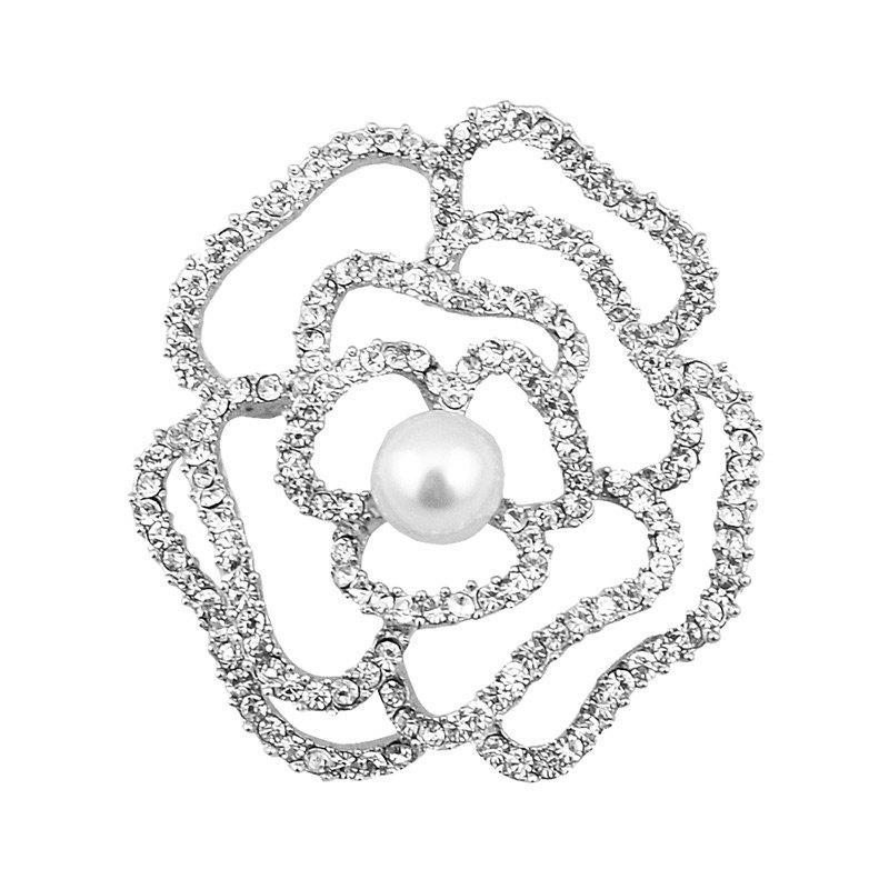 Sparkly Rhinestone Faux Pearl Flower BroochJEWELRY<br><br>Color: SILVER; Brooch Type: Brooch; Gender: For Women; Style: Trendy; Shape/Pattern: Floral; Length: 4.1CM; Weight: 0.0300kg; Package Contents: 1 x Brooch;