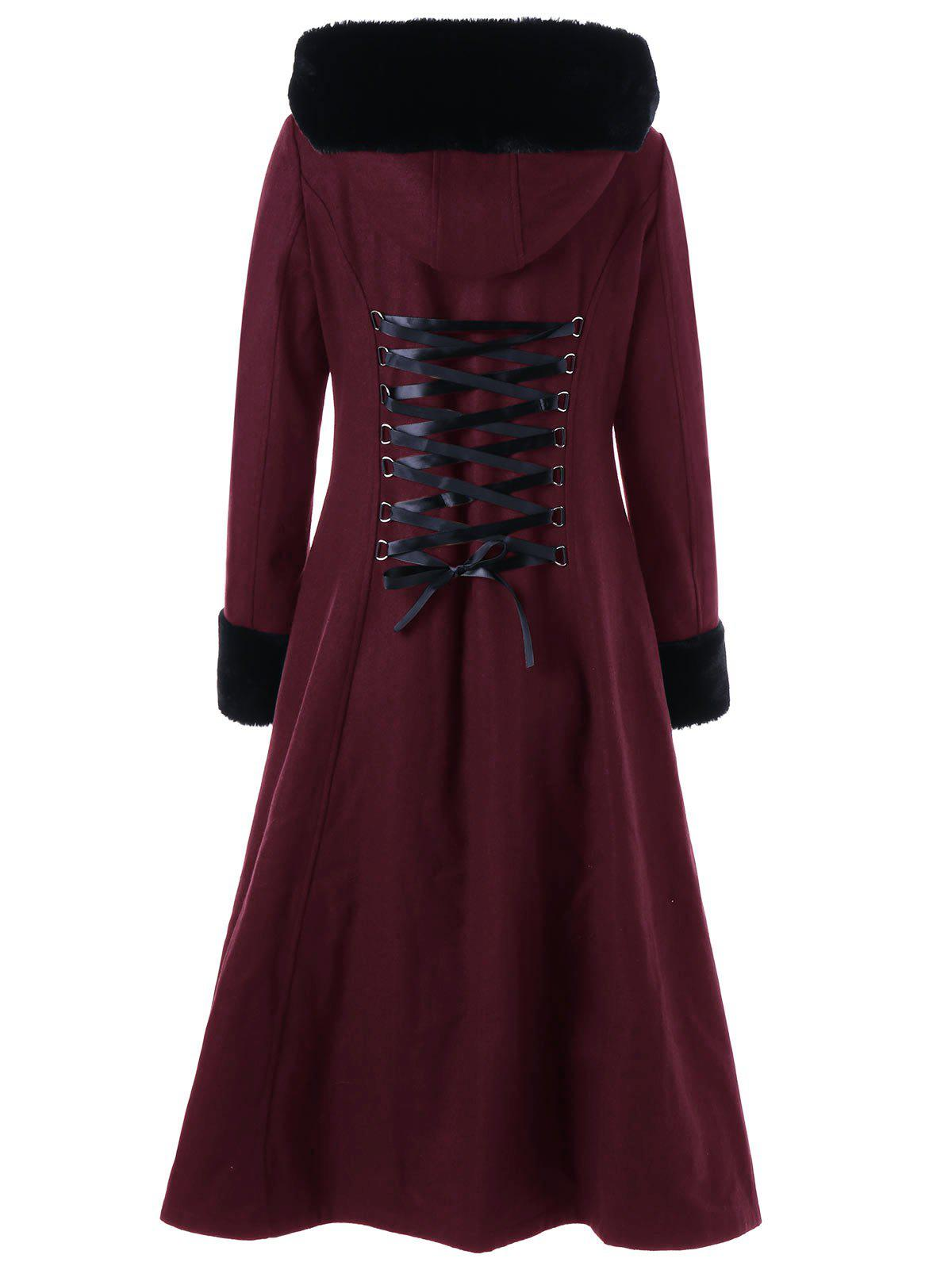 Hooded Longline Lace Up CoatWOMEN<br><br>Size: L; Color: WINE RED; Clothes Type: Wool &amp; Blends; Material: Polyester; Type: Slim; Shirt Length: Long; Sleeve Length: Full; Collar: Hooded; Pattern Type: Solid; Style: Gothic; Season: Fall,Spring,Winter; Weight: 1.2450kg; Package Contents: 1 x Coat;
