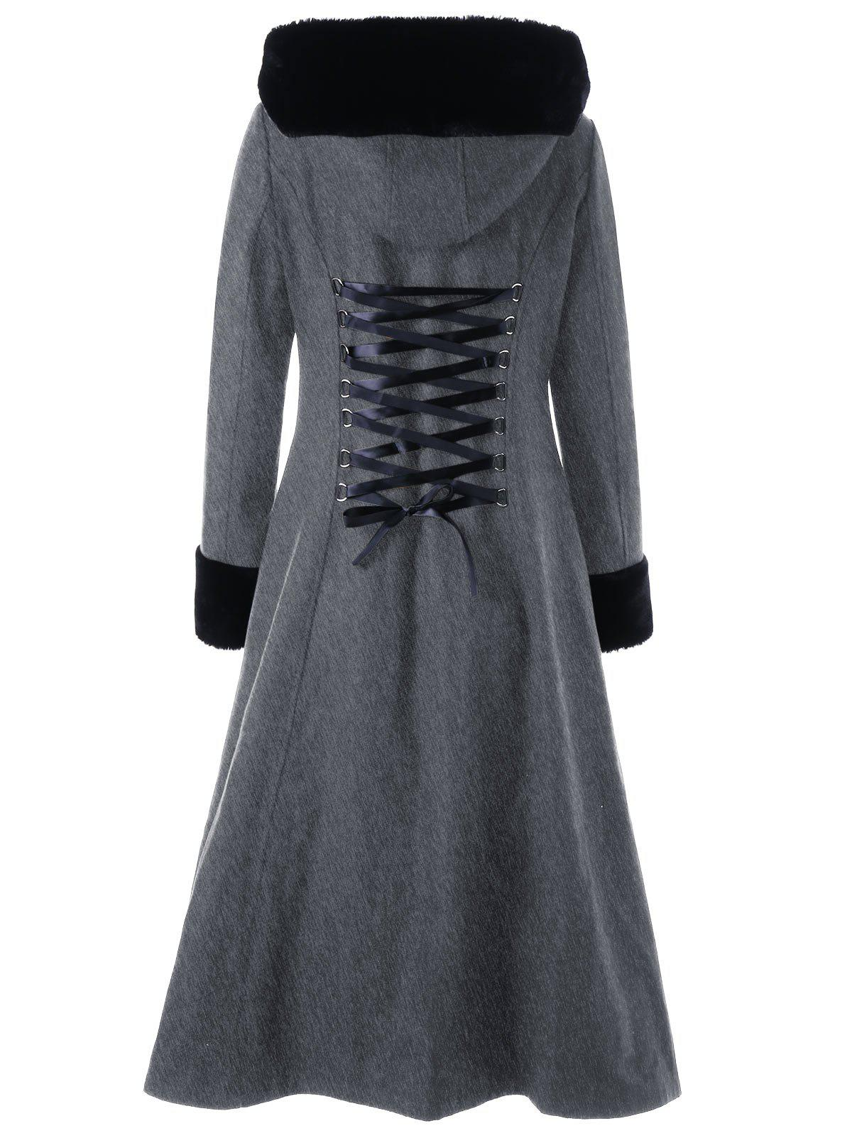 Hooded Longline Lace Up CoatWOMEN<br><br>Size: L; Color: HEATHER GRAY; Clothes Type: Wool &amp; Blends; Material: Polyester; Type: Slim; Shirt Length: Long; Sleeve Length: Full; Collar: Hooded; Pattern Type: Solid; Style: Gothic; Season: Fall,Spring,Winter; Weight: 1.2450kg; Package Contents: 1 x Coat;