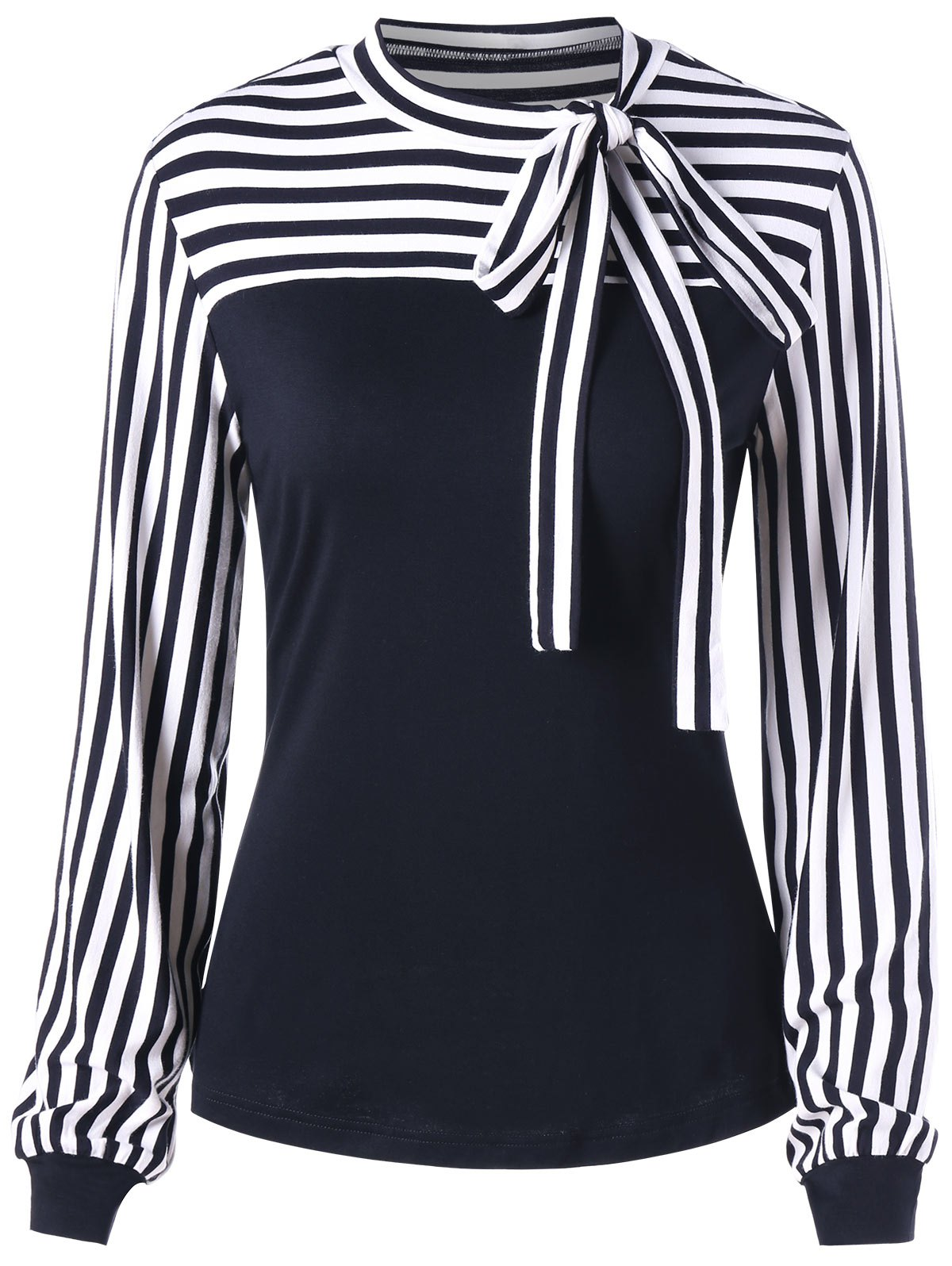 Bowknot Long Sleeve Striped TopWOMEN<br><br>Size: L; Color: BLACK; Material: Cotton,Spandex; Shirt Length: Regular; Sleeve Length: Full; Collar: Crew Neck; Style: Fashion; Embellishment: Bowknot; Pattern Type: Striped; Season: Fall,Spring; Weight: 0.2700kg; Package Contents: 1 x Top;