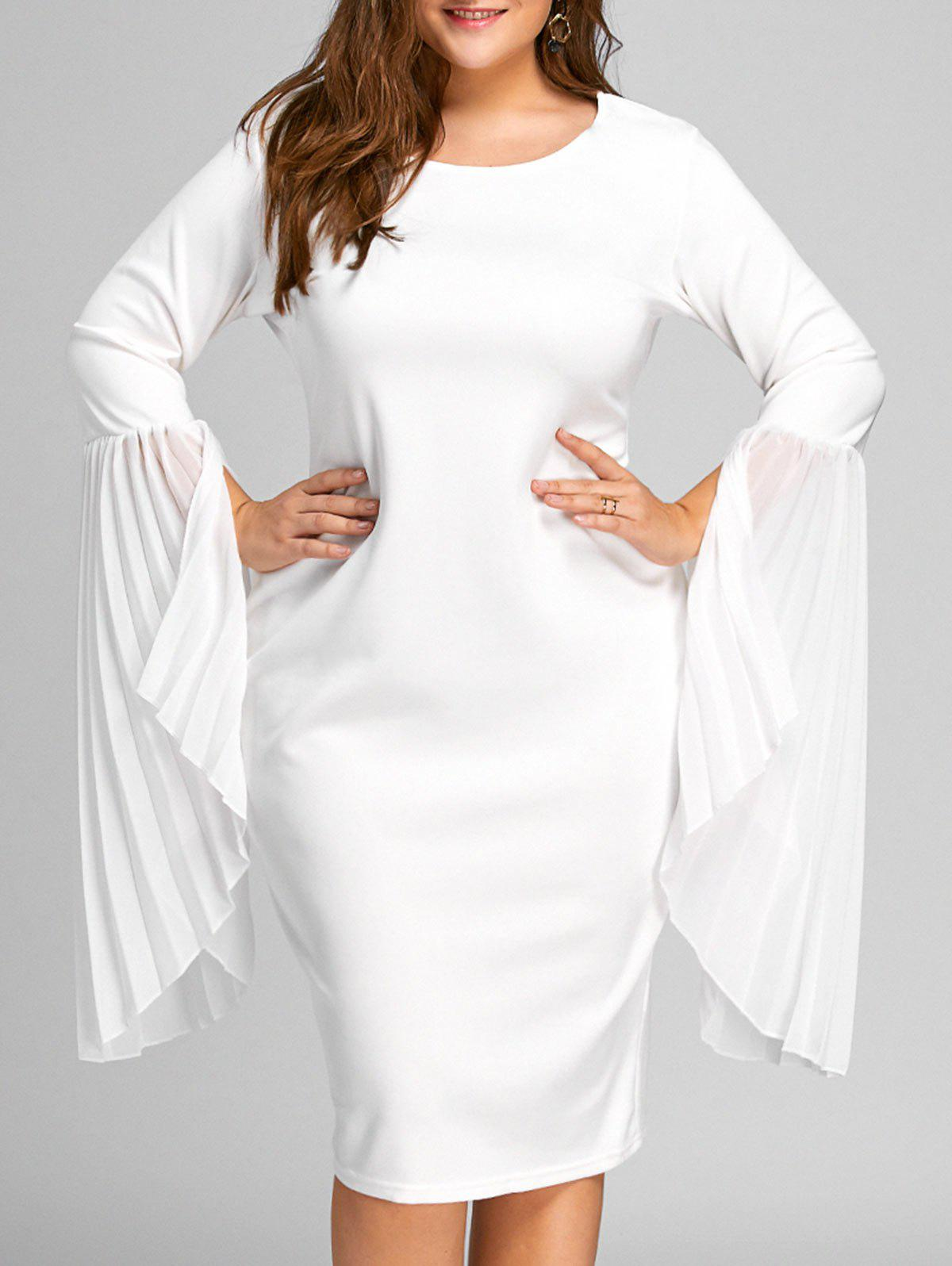 Plus Size Pleated Bell Sleeve Sheath DressWOMEN<br><br>Size: 3XL; Color: WHITE; Style: Casual; Material: Cotton,Polyester; Silhouette: Sheath; Dresses Length: Knee-Length; Neckline: Round Collar; Sleeve Type: Flare Sleeve; Sleeve Length: Long Sleeves; Embellishment: Pleated; Pattern Type: Solid; With Belt: No; Season: Fall; Weight: 0.5150kg; Package Contents: 1 x Dress;