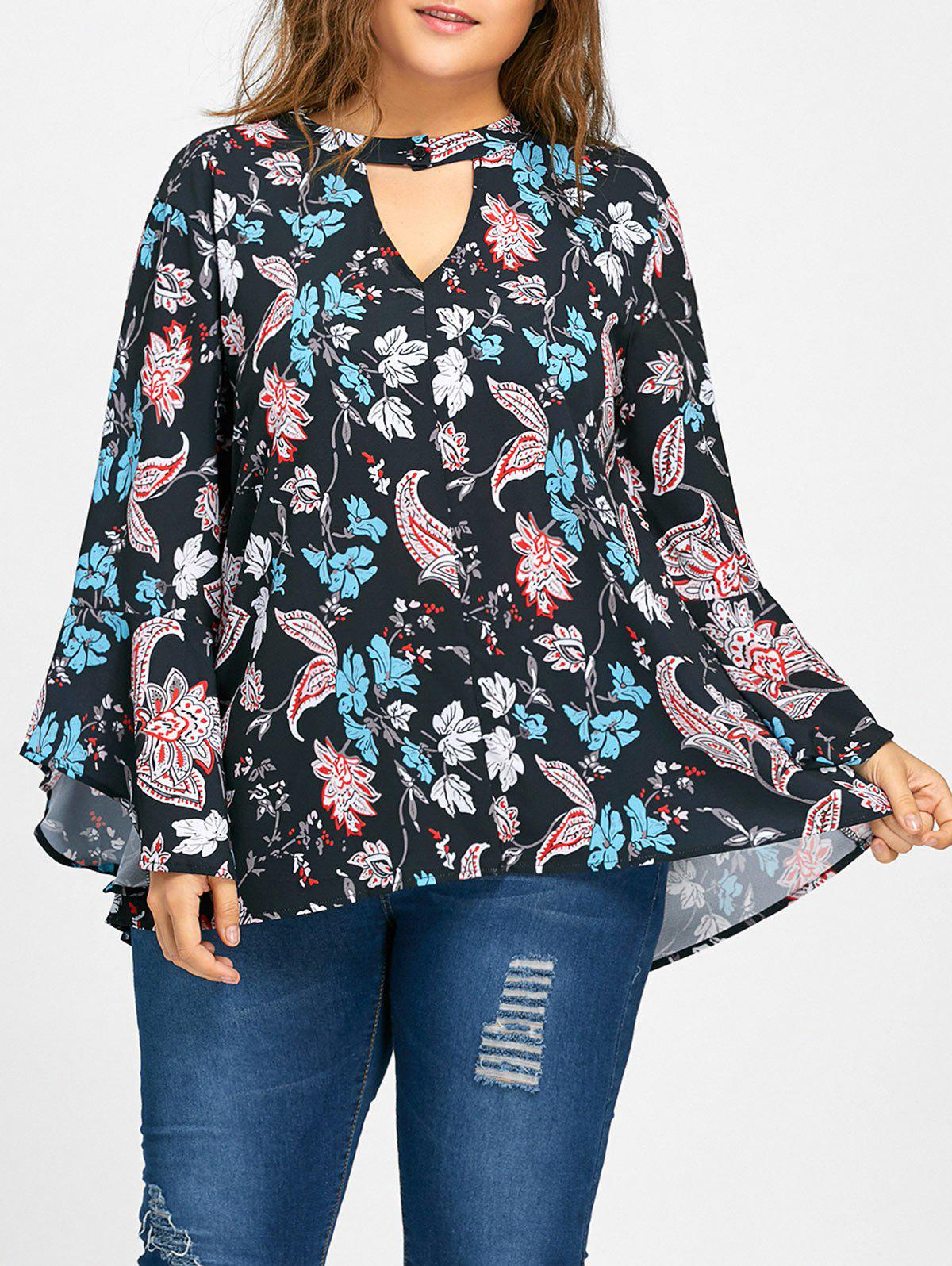 22465c1871b58 2019 Bell Sleeve Keyhole Floral Print Plus Size Blouse