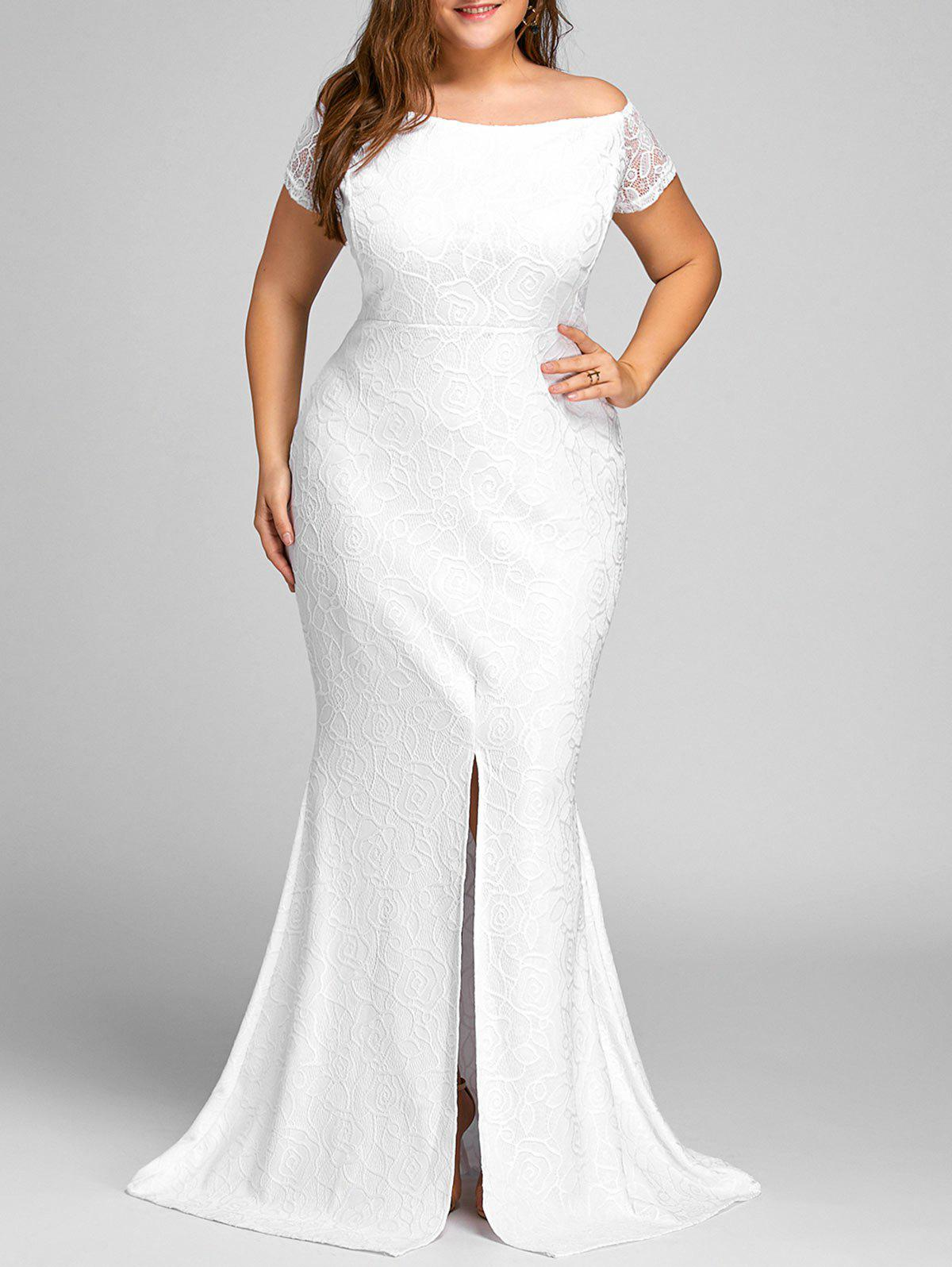 Off The Shoulder Slit Lace Plus Size Dress