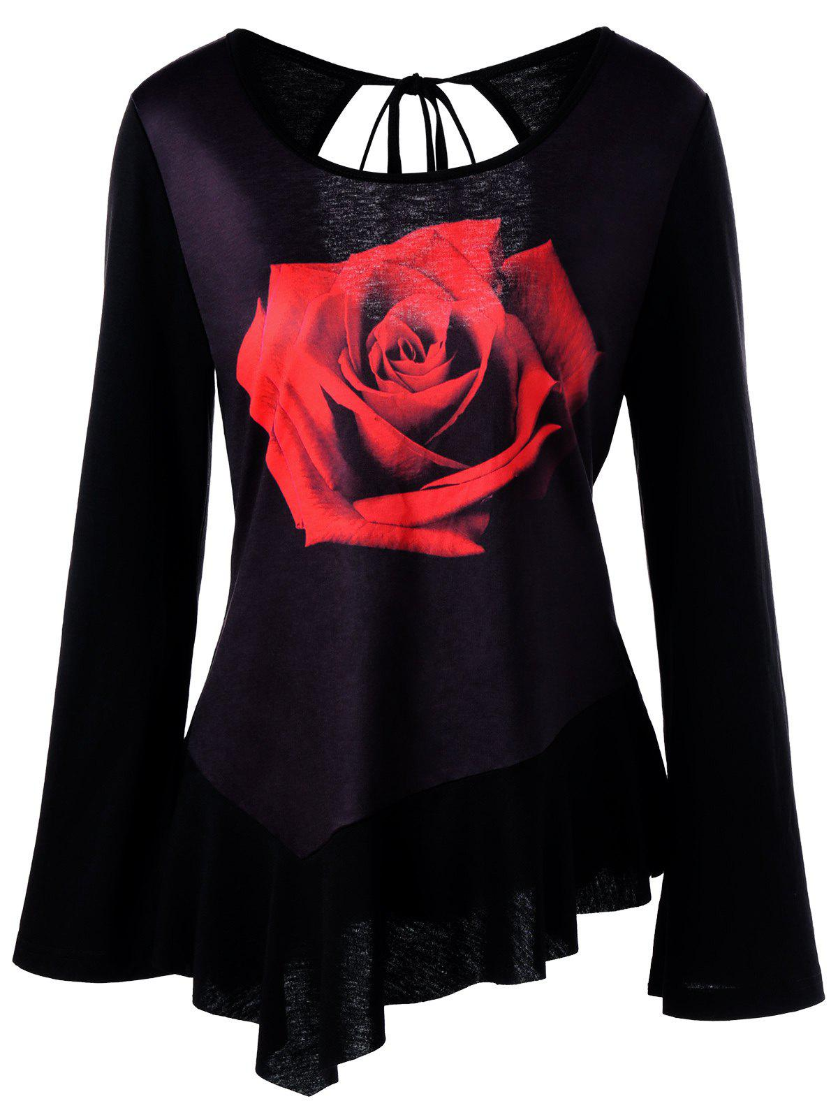 3D Rose Print Cut Out Bell Sleeve T-shirtWOMEN<br><br>Size: XL; Color: BLACK; Material: Polyester,Spandex; Shirt Length: Regular; Sleeve Length: Full; Collar: Round Neck; Style: Fashion; Pattern Type: Floral; Season: Fall,Spring; Weight: 0.2500kg; Package Contents: 1 x T-shirt;