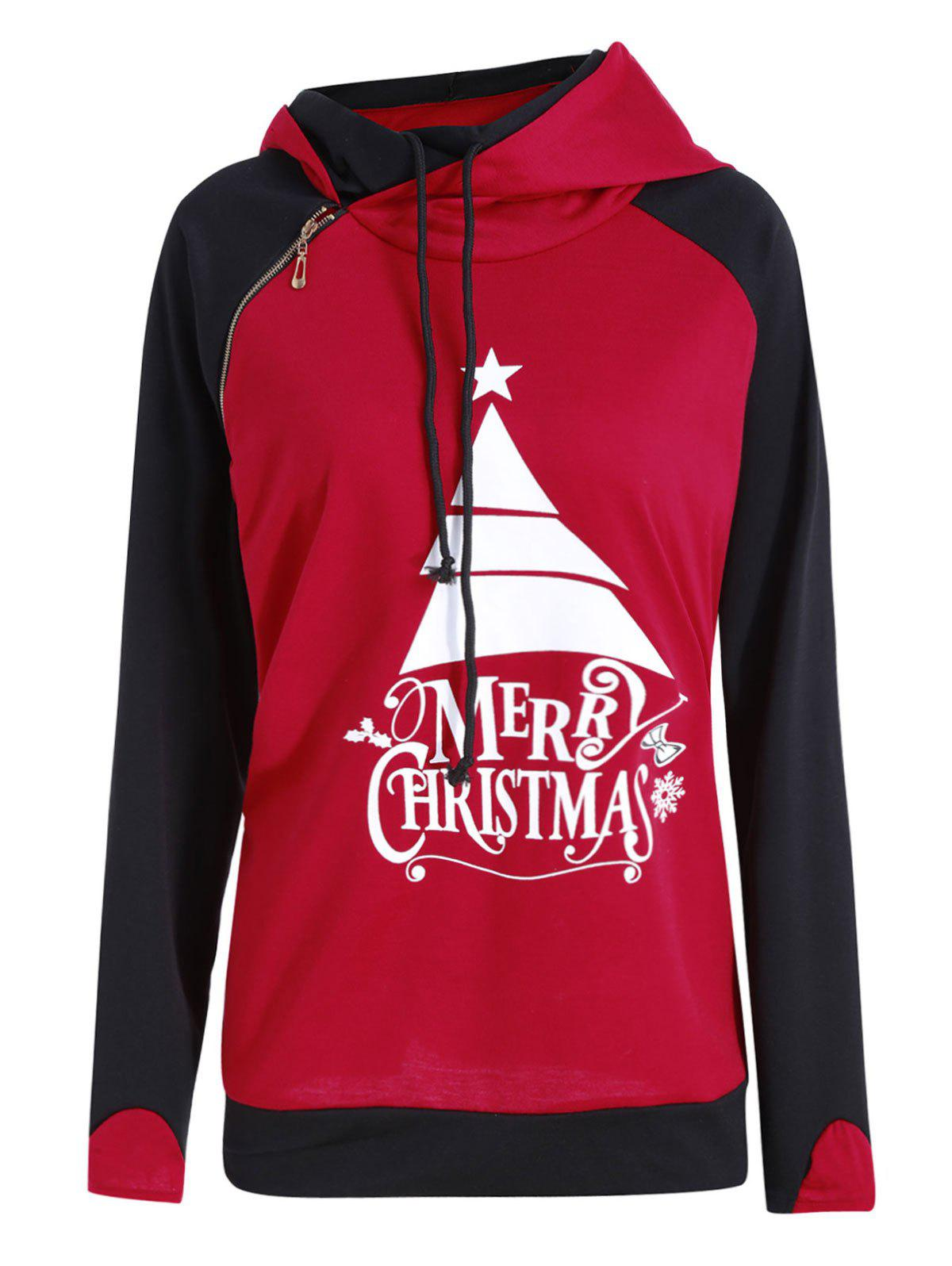 Online Plus Size  Oblique Zipper Hit Color Merry Christmas Hoodie