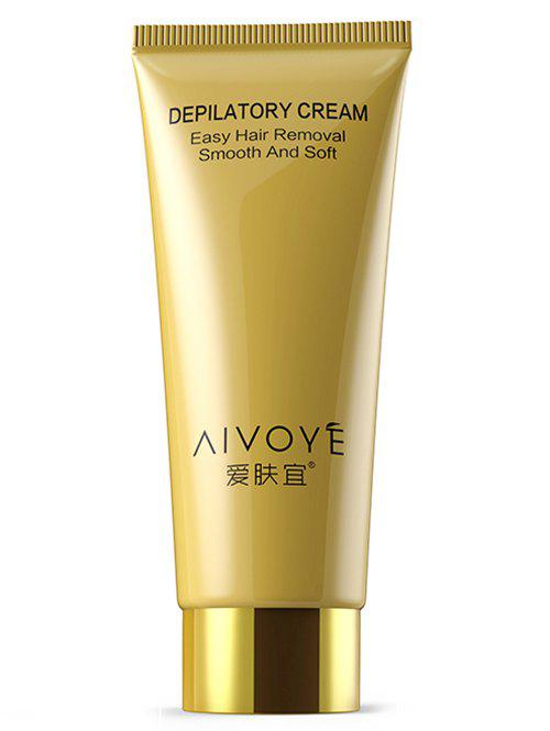 AIVOYE Easy Permanent Hair Removal Depilatory CreamBEAUTY<br><br>Color: GOLDEN; Item Type: Hand Foot File; Net weight(g/ml): 60g; Weight: 0.1000kg; Package Content: 1 x Depilatory Cream;