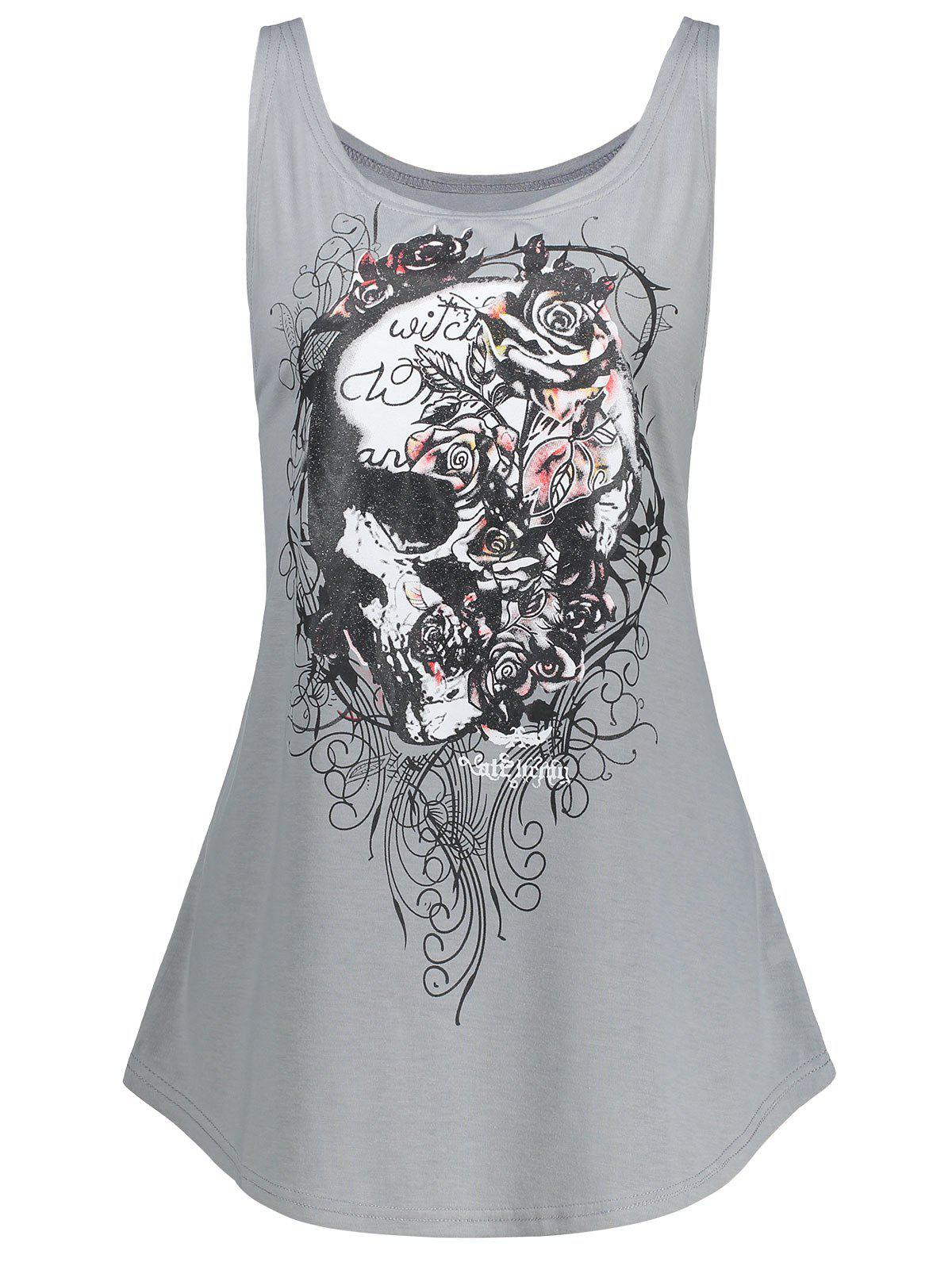 Halloween Plus Size Skull Racerback Tank TopWOMEN<br><br>Size: 5XL; Color: GRAY; Material: Polyester,Spandex; Shirt Length: Long; Sleeve Length: Sleeveless; Collar: Scoop Neck; Style: Fashion; Season: Fall,Spring,Summer; Pattern Type: Skulls; Weight: 0.2000kg; Package Contents: 1 x Top;