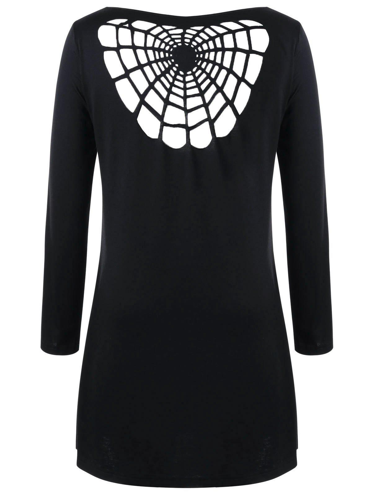 Halloween Plus Size Openwork Spider Tunic TopWOMEN<br><br>Size: 5XL; Color: BLACK; Material: Polyester,Spandex; Shirt Length: Long; Sleeve Length: Full; Collar: Boat Neck; Style: Novelty; Season: Fall,Spring; Pattern Type: Solid; Weight: 0.3000kg; Package Contents: 1 x T-shirt;