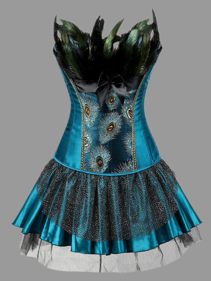 Plus Size Two Piece Feather Corset DressWOMEN<br><br>Size: 6XL; Color: PEACOCK BLUE; Material: Polyester; Pattern Type: Feather; Embellishment: Embroidery,Feathers,Sequins; Weight: 0.3500kg; Package Contents: 1 x Corset  1 x Skirt  1 x T-back;