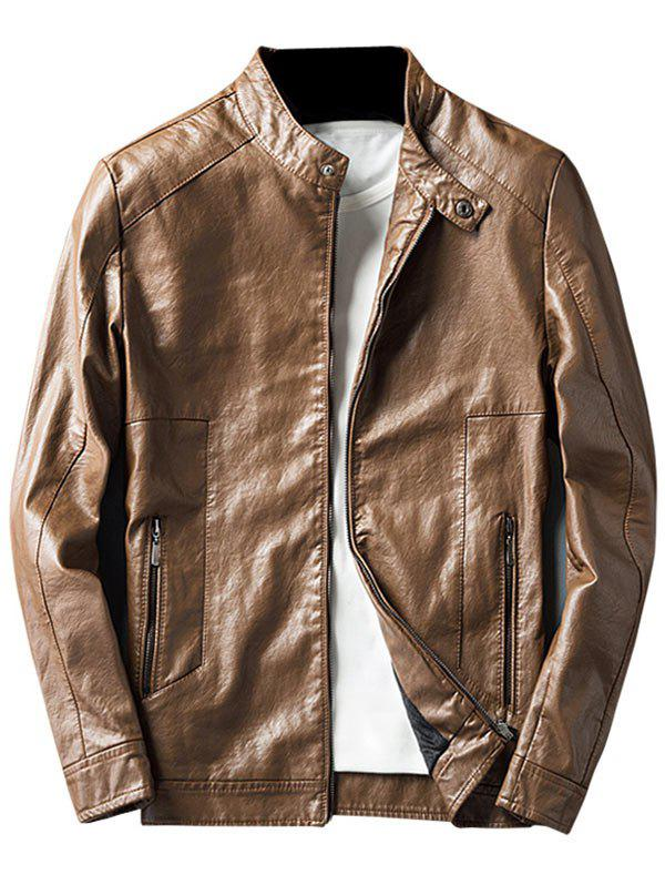 Chic Faux Leather Jacket with Zip Pocket
